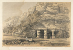 'The Caves of Elephanta, exterior'. Lithograph by Day & Son from Sir Harry Darrell's China, India and the Cape London, 1852